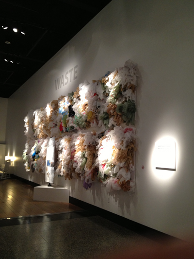 A wall filled with hundreds of single-use plastic bags