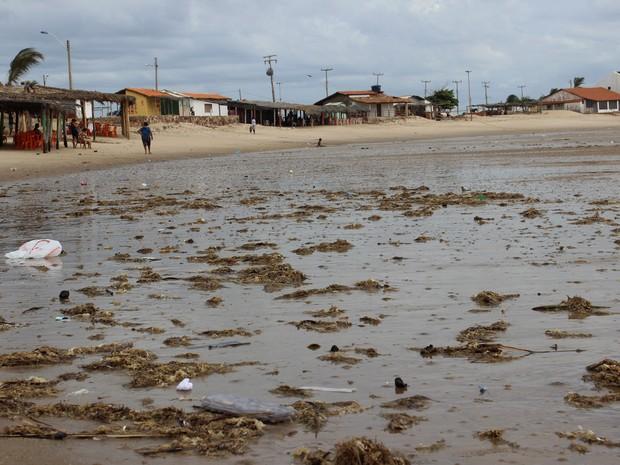 Embalagem de ovos de codorna, sacolas plásticas podem ser vistos pela praia (Foto: Patrícia Andrade/G1)