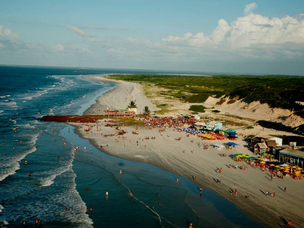 Vista aérea da Praia da Princesa, em Algodoal (Foto: Henrique Felício/O Liberal)