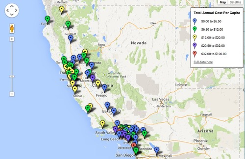 Mapa das cidades e municípios da Califórnia pesquisados no relatório produzido pela NRDC